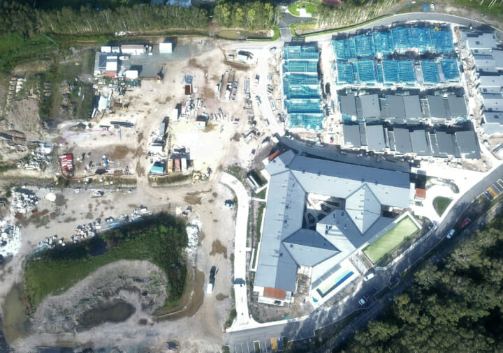 Arial photo of the Poziers Aged Care and Retirement Living Development at Port Macquarie