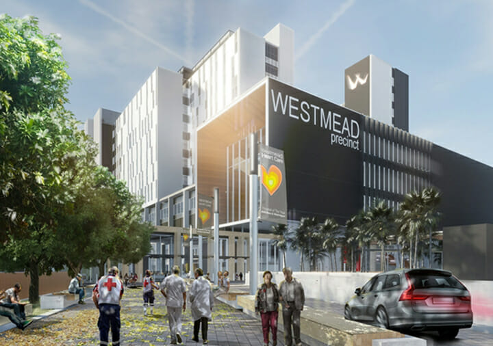 Render of the outside of the new Westmead Hospital