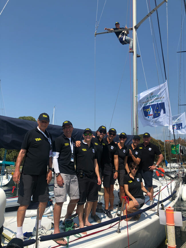 Crew of TSA Management on deck before the start of the 2019 Sydney to Hobart Yacht Race